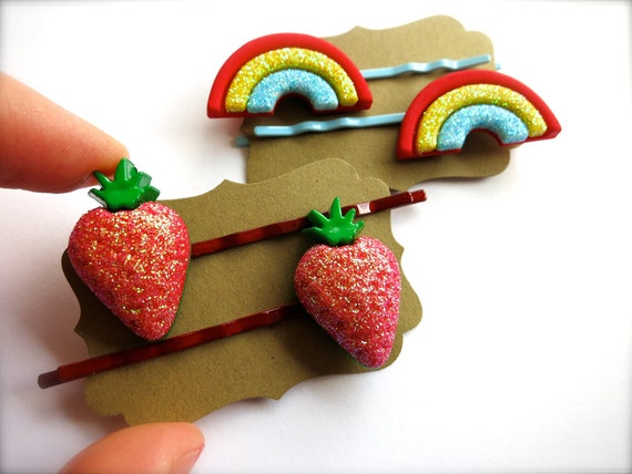 Glittery Strawberry OR Rainbow Hair Clips-Sparkly Set of Two-Gifts for Girls, Toddlers-Fruit, Wizard of Oz Accessories-Fun Summer Fashion