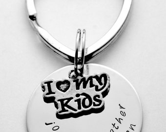 Mother key chain - Father key chain - Family key chain - choice of text and font