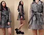 90s Vtg SiLVER Grey Sheer ORGANZA Mesh MiNI Wrap Dress - Trench Coat / Belted Collared Clueless Grunge Club Kid / Small - Medium
