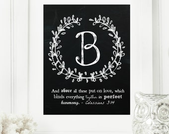 "Instant ""Family Monogram Scripture"" Chalkboard Wall Art Print 11x14, 5x7 Typography Letter ""B"" Printable Home Decor"