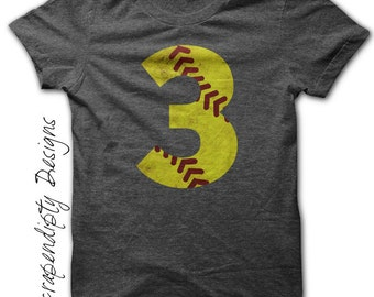 Softball Number Iron on Transfer - Iron on Custom Softball Shirt / Softball Mom Tshirt / Toddler Sports Clothes / Kids Girls Tee IT491