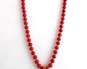handknotted red coral necklace with 18K gold filled evil eye pendant; ward off evil eye; hand knotted necklace; lucky