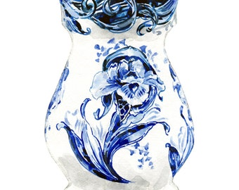 Delft Blue Vase Tulip Art Flower Print Blue China Painting Chinoiserie Print Royal Copenhagen Flower Art Floral Painting Gift for Her