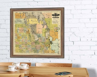 Manitoba map  - Old map of Manitoba (Canada)  - City plan print - Fine giclee  print