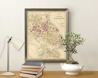 Map of Portsmouth  (NH)  - Vintage plan of Portsmouth - Old city map archival print