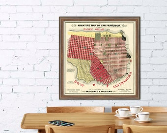 Old map of  San Francisco - City plan  fine giclee print