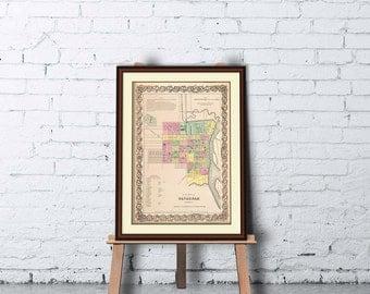 Savannah map - Old map of Savannah print - Archival reproduction