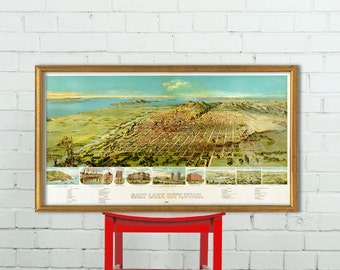 Salt Lake City poster -   Birds eye view - Panoramic map of Salt Lake City  - 16 x 29""