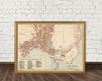 Cape Town map - Old map of Cape Town print - Fine reproduction