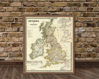 British Isles map    -  Old map  of Britannia fine reproduction - Historic map