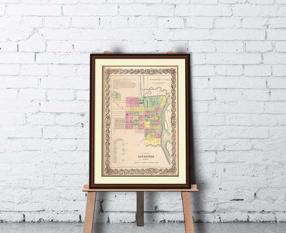 Savannah map - Old map of Savannah print - Archival reproduction