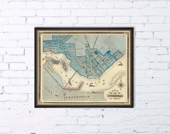 Jeffersonville map  - Vintage city map archival print