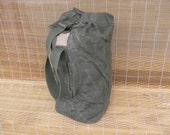 Vintage Army Olive Green Canvas Duffel Bag With Back Strap Backpack