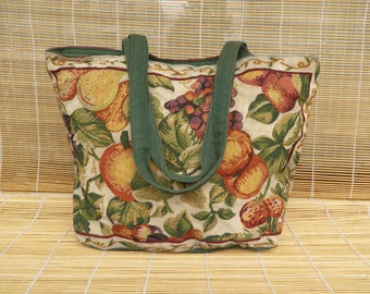 Vintage Textile Tapestry Fruit Floral Pattern Purse Zip Up Top Tote Bag