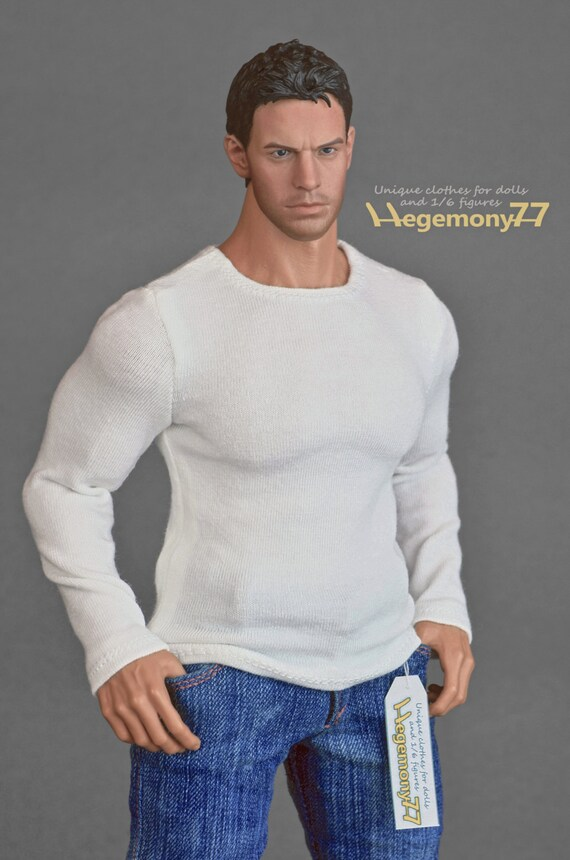 1/6th scale XXL white long sleeve T-shirt for: Hot Toys TTM 20 size bigger action figures and male fashion dolls
