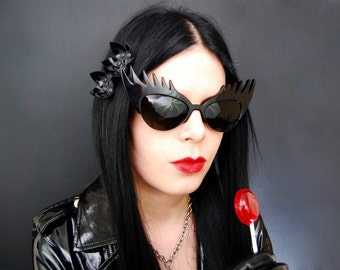 Pair Small Cyber Flower Hair Clips - Shiny and Matt Black PVC Studded Gothic Industrial Mechanical Flowers