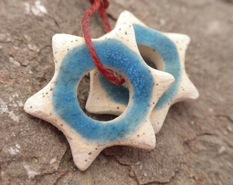 Sky Starbursts- handmade ceramic rustic tribal punk star earring pair speckled matte blue bead pair 9344