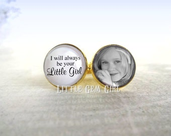 Gold Plated Custom Photo Cuff Links - Personalized with your Photo and Text - 16mm Cufflinks Gift Keepsake