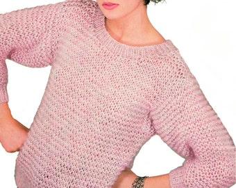 Instant Download PDF Vintage Eighties Garter Stitch Sweater Knitting Pattern