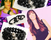Stackable Braelets, Set of 3 Bracelets, Beaded Bracelet, Black Bracelet, Stretch Bracelet