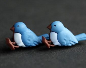 Blue Bird Earrings. Bluebird Earrings. Blue Earrings. Bronze Earrings. Bird Jewelry. Nature Jewelry. Handmade Earrings.