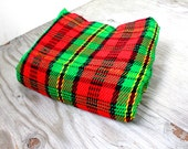 Vintage Retro Bright Red and Green Plaid Christmas Blanket