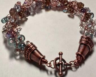 Multicolor Glass Flower Bracelet - Copper Antique Brown Pink Purple Blue Transparent