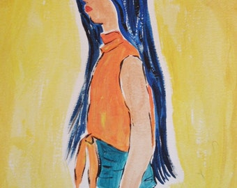 Watercolor Original Painting, Blue Hair Asian Beauty Figurative