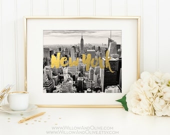 New York City Print, Manhattan Skyline, New York City Skyline, Travel Print Poster, New York Art Print, Gold Wall Art, Faux Gold Foil