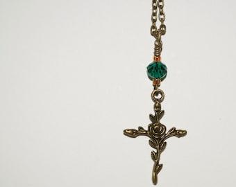 Rose Cross Pendant, Crucifix Necklace, Flower Cross, Crystal Cross Necklace, Floral Cross, Rose Crucifix, Feminine Cross, Religious Jewelry