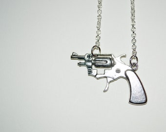 Gun Necklace, Pistol Pendant, Silver Gun Charm, Revolver Necklace, Gun Jewelry, Ladies Gun Necklace, Sideways Gun, Silver Shooter Necklace