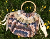One of a kind handmade Parisian chique fat bottom bag crochet fully lined vintage lace ribbon beads buttons flowers purse