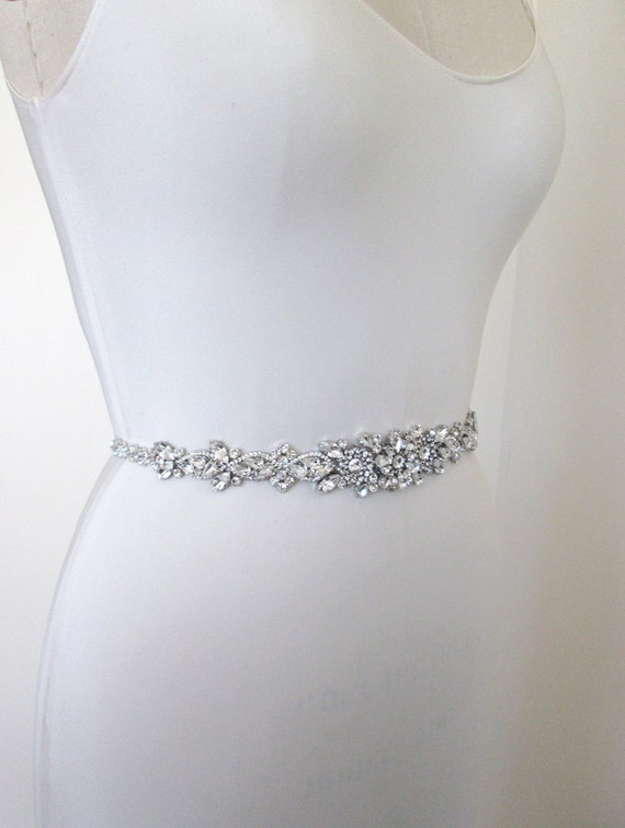 Wedding belt bridal belt sash crystal belts by sabinakwdesign for Rhinestone sash for wedding dress