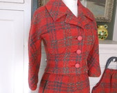 1940s 1950s Designer Wool Dress Skirt Suit by Monte Sano & Pruzan, Nicolas Ungar + Red Plaid + Nipped Waist + Matching Purse + Small 26