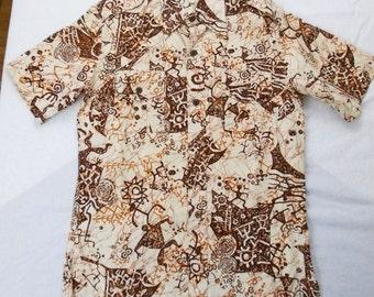 Men's 1970s TIKI Tribal Art Cave Painting Hawaiian Shirt M L