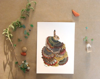 """Quilted Forest: The Rabbit // 5""""x7"""" Art Print - Forest Illustration"""