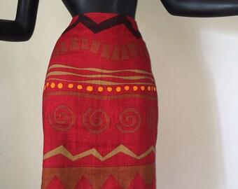 Vintage 80s 90s Southwest Indian Skirt Hawaiian Tiki Tribal Linen Pencil Skirt Deep Rust Red Brown Orange Black Zig Zag Chevron Stripe Print