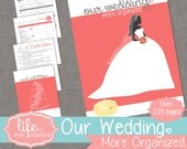 Our Wedding. More Organized. - Complete Wedding Planner INSTANT DOWNLOAD - Light Pink/Coral