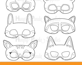 Woodland Forest Animals Coloring Masks Animal Mask Bear Fox