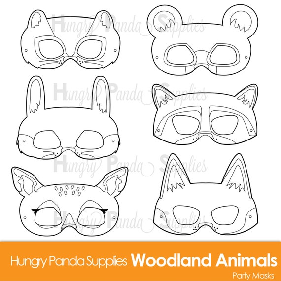 Woodland Forest Animals Coloring Masks Animal Mask Bear Fox Raccoon Bunny Chipmunk Deer Print