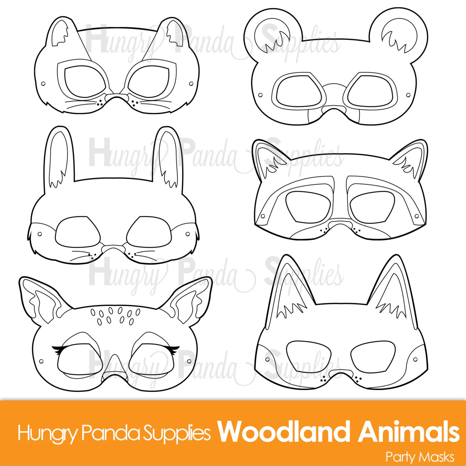 dog mask template for kids - woodland forest animals coloring masks woodland animal mask
