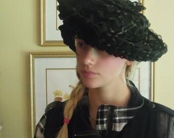 Vintage 60s Nylon Straw Ivory Straw Hat with Black Velvet Bow / Wedding Straw Hat / Evelyn Varon Exclusive