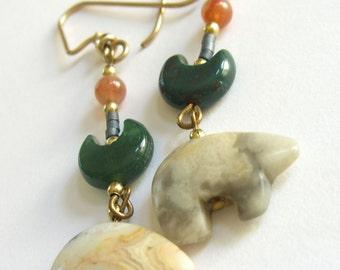 Carved Agate Bear Earrings, Aventurine Beads