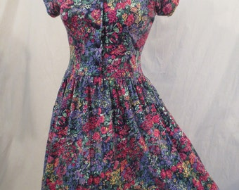 GARDEN PARTY soft knit floral dress - full skirt - Premier Petite xs xxs
