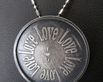 "Etched ""Love"" pandant"