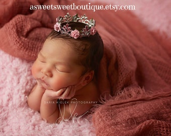 Pink Newborn Crown Pink Floral Crown Headband Newborn Princess Photo Prop Baby Tiara Headband Newborn Rhinestone Crown Newborn Photo Prop