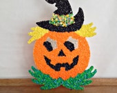 Retro Halloween Melted Plastic Popcorn Jack O Lantern Pumpkin