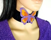 HUZZAR DESIGN Beautiful Butterfly Suede choker made to order