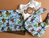 FREE USA SHIPPING, Custom Monkey Onesie, Bib,& Burp cloth set, boy baby layette, Jungle baby shower, Jungle 1 2 3, Appliqued Elephant Onesie