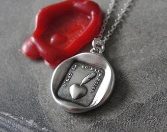 My Heart Is Sincere - wax seal necklace in fine silver from an antique French wax seal